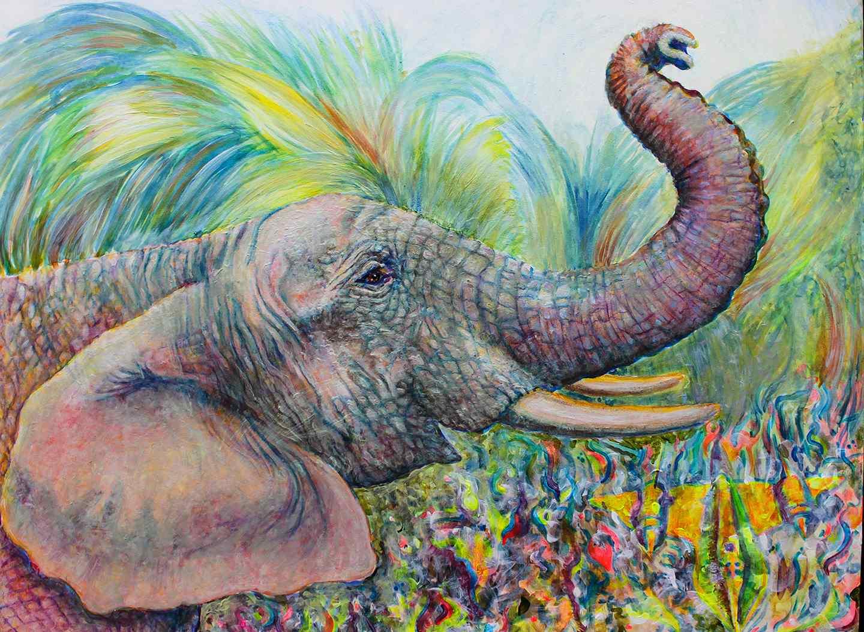 Elephant acrylic painting by Christine Marsh