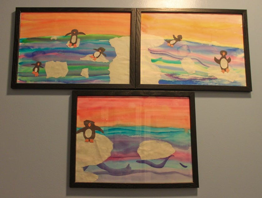 Penguins painted by triplets - photo by Christine Marsh