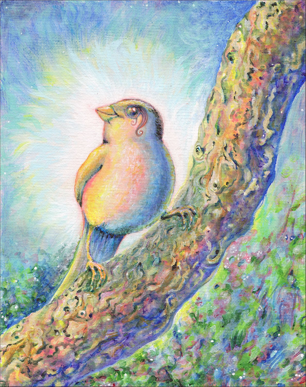 Spreading the Light bird painting
